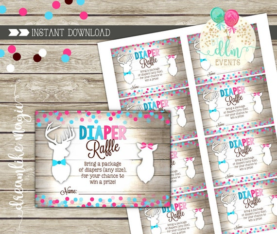 Buck Or Doe Gender Reveal Diaper Raffle Printable Card Deer Etsy