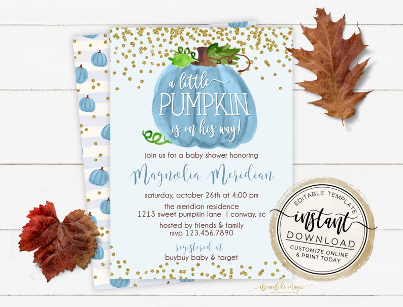 Pumpkin Baby Shower Invitation Fall Baby Shower Little image 0