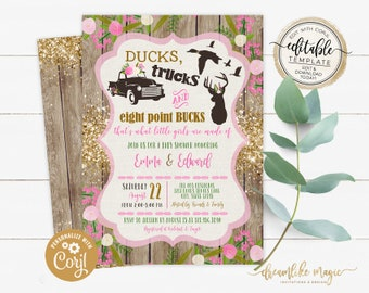 Ducks, Trucks, and Bucks, BABY GIRL Shower Invitation, Girly Hunting Deer Baby Sprinkle Invite, Printable Editable Template, Rustic Southern