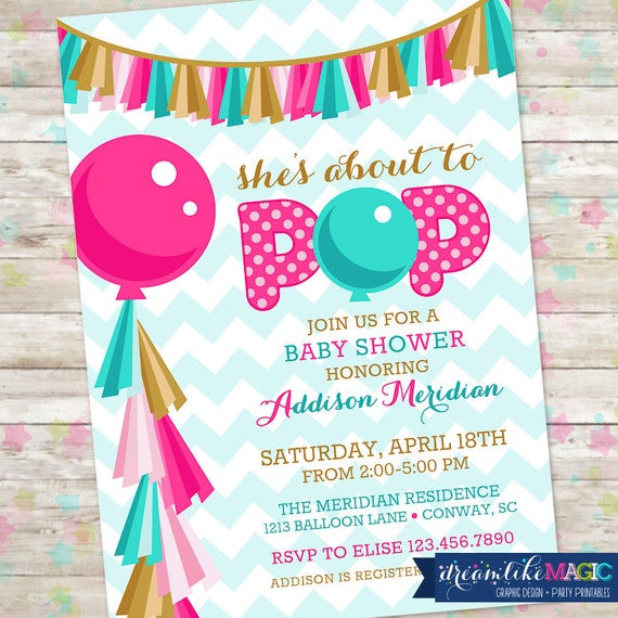 About To Pop Baby Shower Invite Printable Invitation Pink