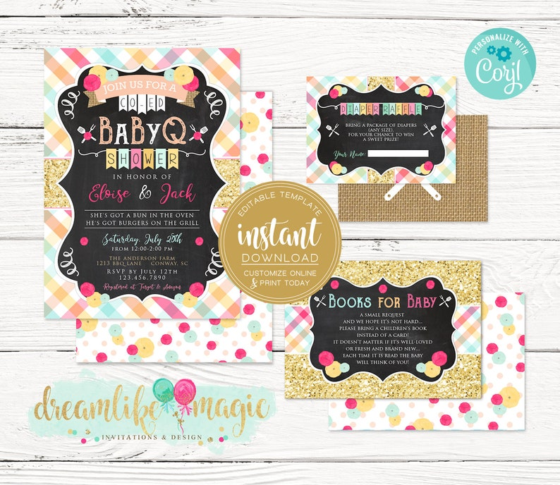 BBQ Baby Shower Invite BabyQ Rustic Floral Baby Girl Bun in image 0