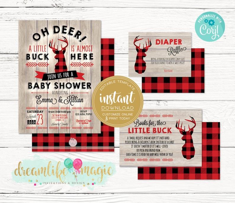 Little Buck Baby Shower Invitation Hunting Deer Shower image 0