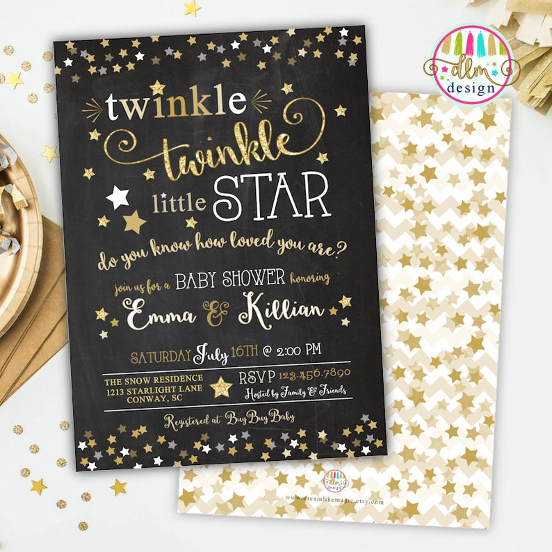 photo regarding Free Printable Twinkle Twinkle Little Star Baby Shower Invitations referred to as Twinkle Twinkle Small Star Little one Shower Printable Invitation, Gender Impartial Invite, Small Star Shower, Child Boy or Child Lady, Lullaby Music