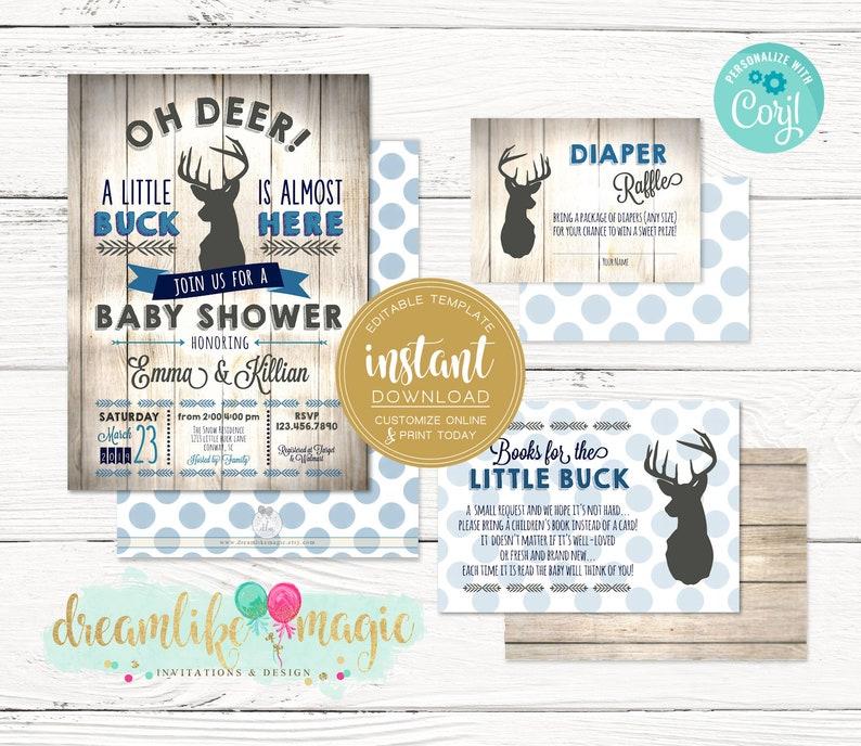Little Buck Baby Shower Invitation Rustic Baby Shower Set image 0