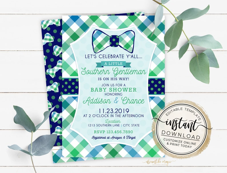 Preppy Southern Gentleman Baby Shower Invitation Navy and image 0
