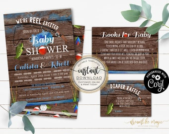 Fishing Baby Shower, REEL Excited Baby Boy, Rustic, Fisherman, Catch the Joy It's a Boy, Editable Baby Invitation Set, Instant Download, DIY