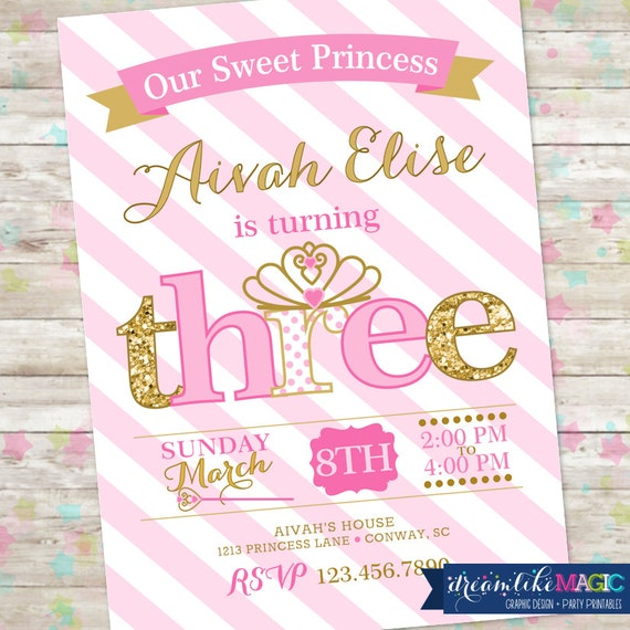 princess birthday invitation 3rd birthday party invite pink etsy