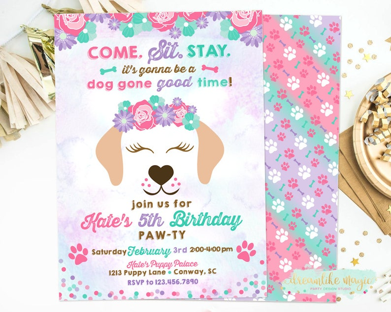 Puppy Face Birthday Invitation Time to Paw-ty Invitation image 0