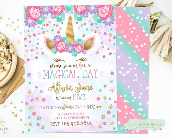 Unicorn Birthday Invite Face Invitation
