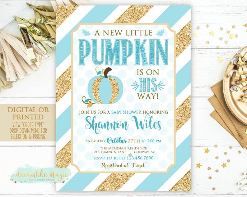Little Pumpkin Baby Shower Invitation Baby Boy Printable image 0