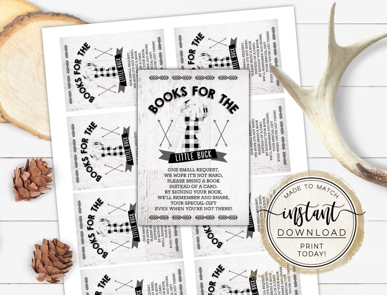Little Buck Book Cards Printable Bring Baby Book Inserts image 0