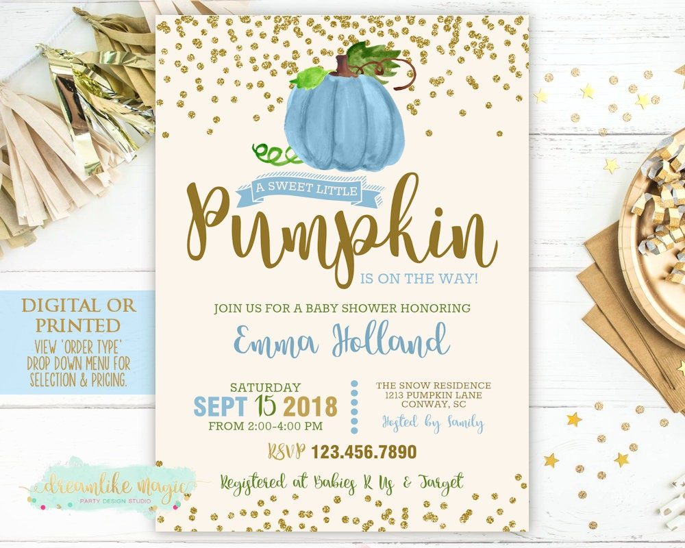 Pumpkin Baby Shower Invitation Fall Shower Invite Boy Little | Etsy