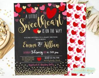 Sweetheart Invitation, Valentines Day Baby Shower, Sweetheart Baby Shower Invitation, Heart Invitation, Valentines Baby Shower Invite