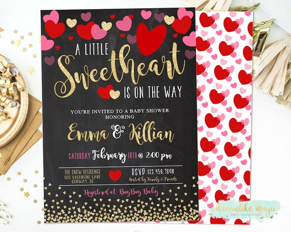 Sweetheart Invitation Valentines Day Baby Shower Sweetheart Baby