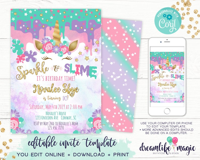 Unicorn Slime Invitation Sparkle & Slime Birthday Party image 0
