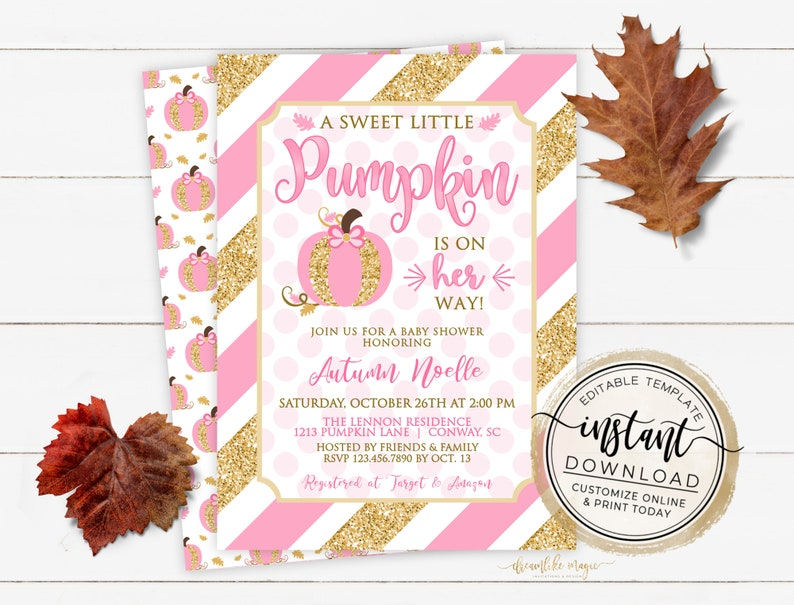 Pumpkin Baby Shower Invitation Fall Baby Shower Little image 0