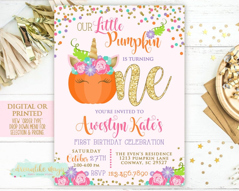 Fall Pumpkin Party Birthday Invitation Fall Unicorn Birthday image 0