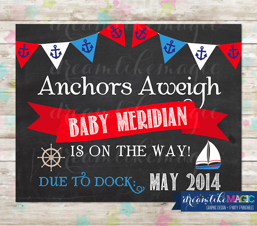 Nautical Baby On Board Pregnancy Announcement Baby on the ...