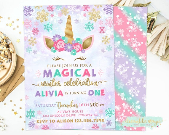 Winter Unicorn Birthday Invitation Snow Magical Winter Etsy