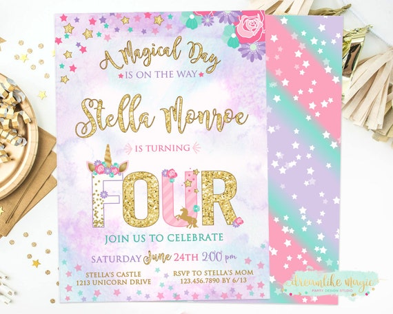 Unicorn 4th Birthday Invite Four Fourth