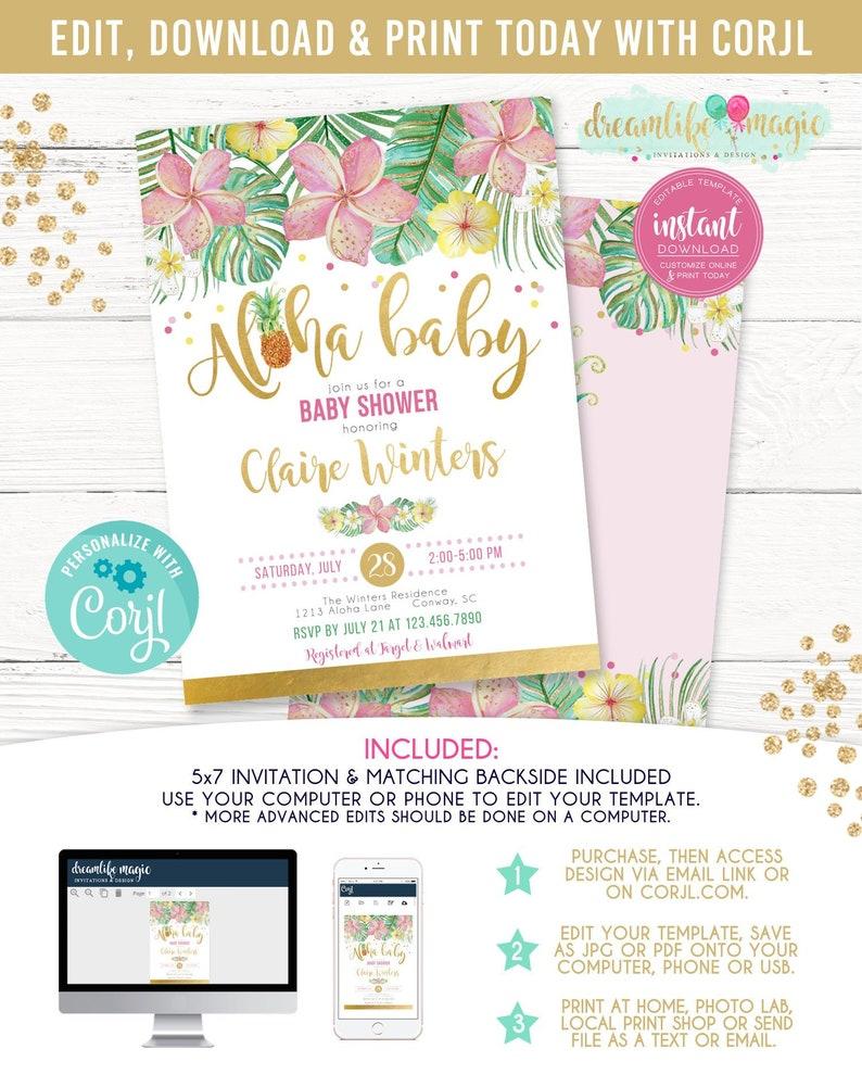 Hawaiian Luau Baby Shower Aloha Baby Printable Invitation image 0