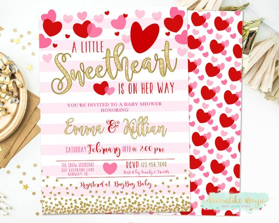 Little Sweetheart Baby Shower Invitation Valentines Day Baby Shower