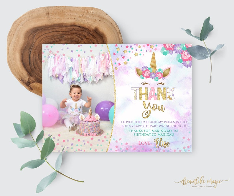 Unicorn Birthday Thank You Card Floral Glitter Magical Party image 0
