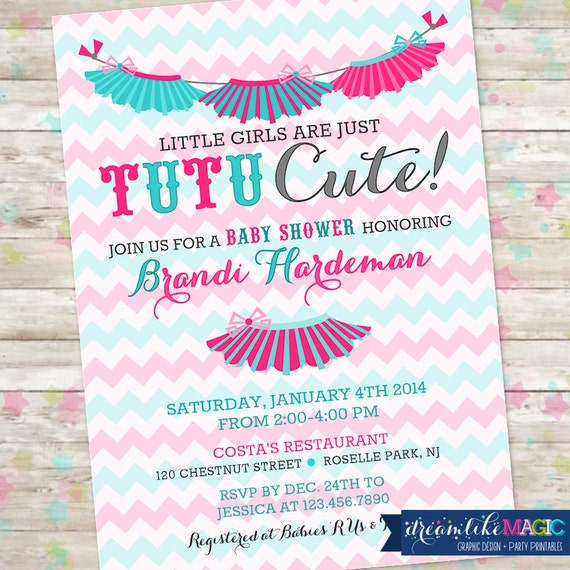 Tutu cute tutu thrilled baby shower invite baby girl etsy image 0 filmwisefo
