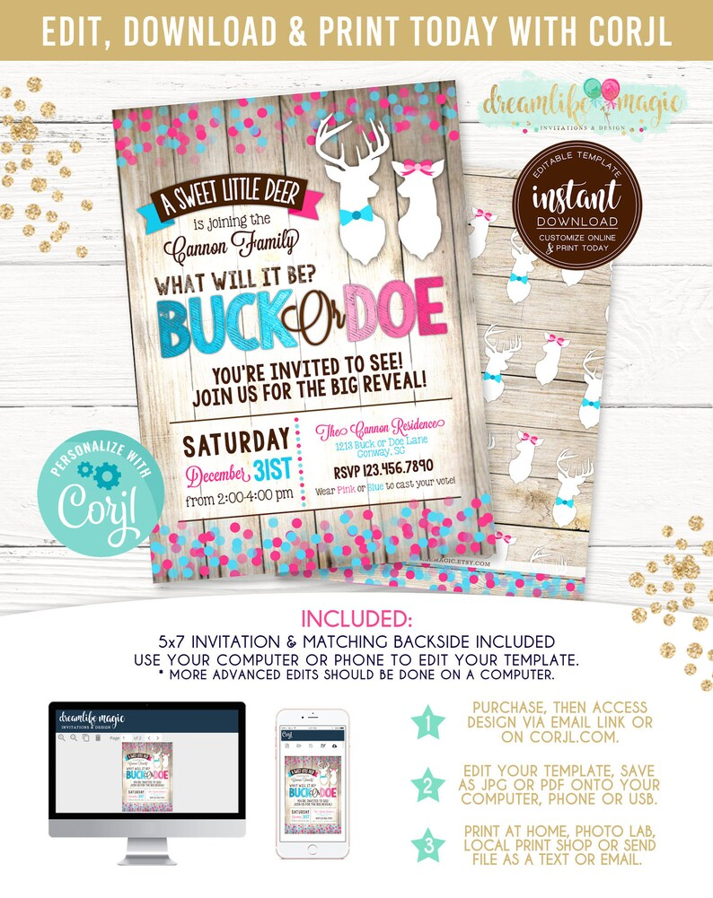 Buck or Doe Gender Reveal Invitation deer gender reveal buck image 0