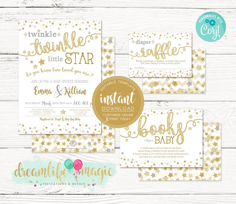 Twinkle Twinkle Little Star Invite Gender Neutral Baby image 0