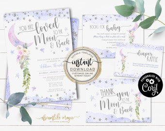 Love You to the Moon and Back Baby Shower Invitation, Over the Moon Baby Shower Invite Template, Instant Download, Editable Baby Girl Shower