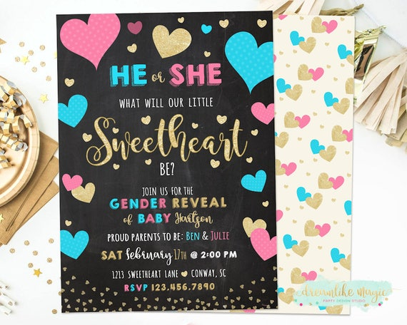 Valentines Gender Reveal Invitation Heart Gender Reveal Invitation