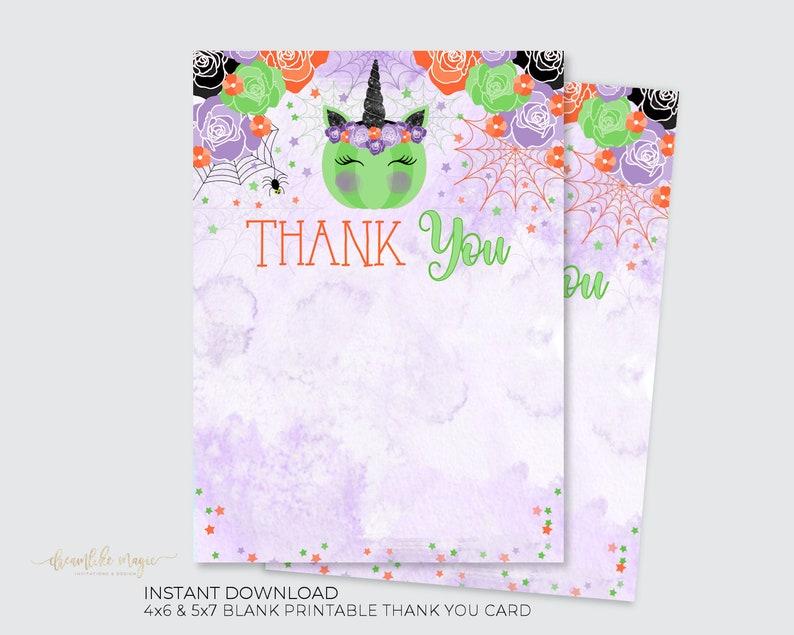 Halloween Unicorn Thank You Card INSTANT DOWNLOAD Unicorn image 0