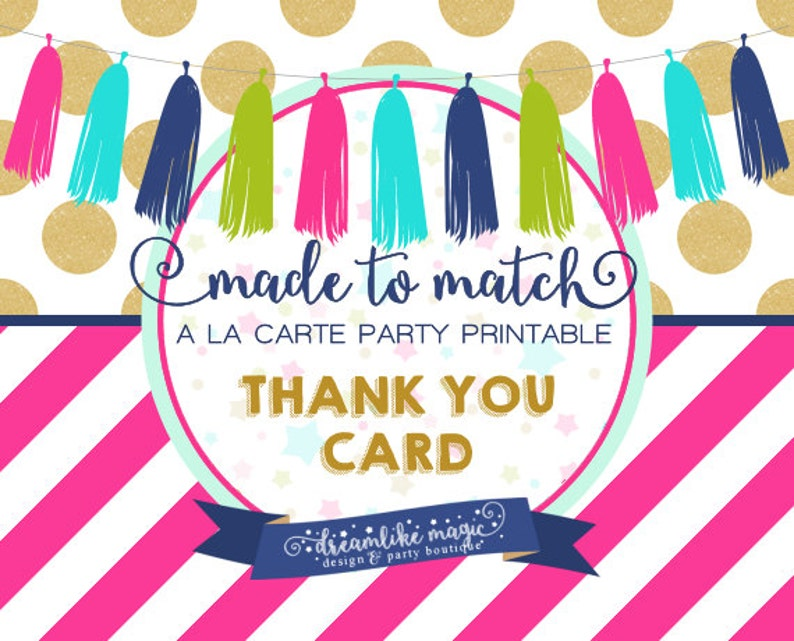 Made to Match Party Printable Thank You Note Card image 0