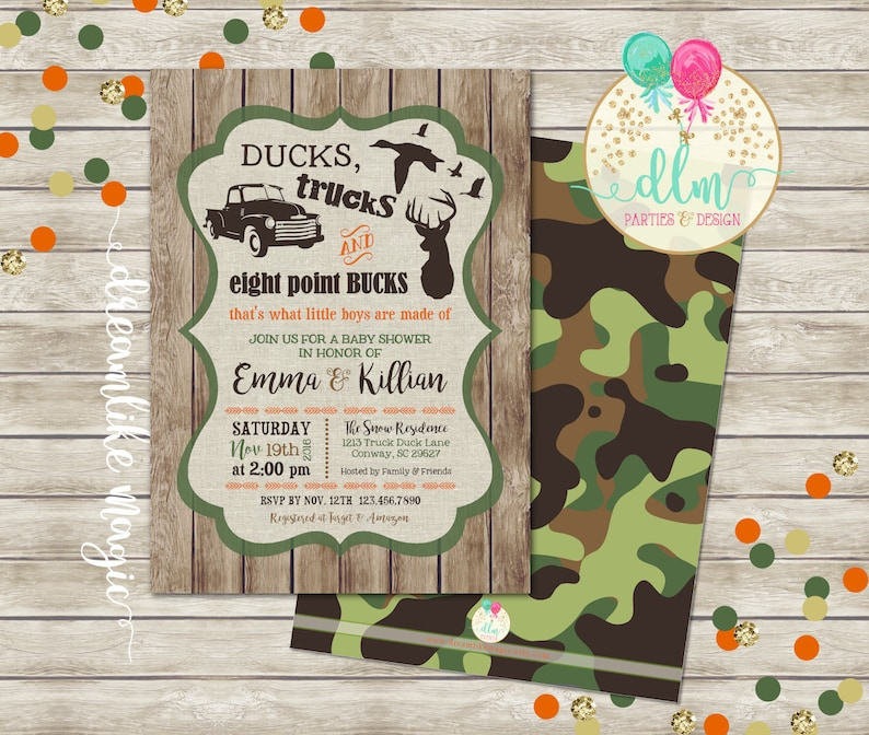 Ducks Trucks Bucks BABY BOY Shower Invitation Boys are made image 0