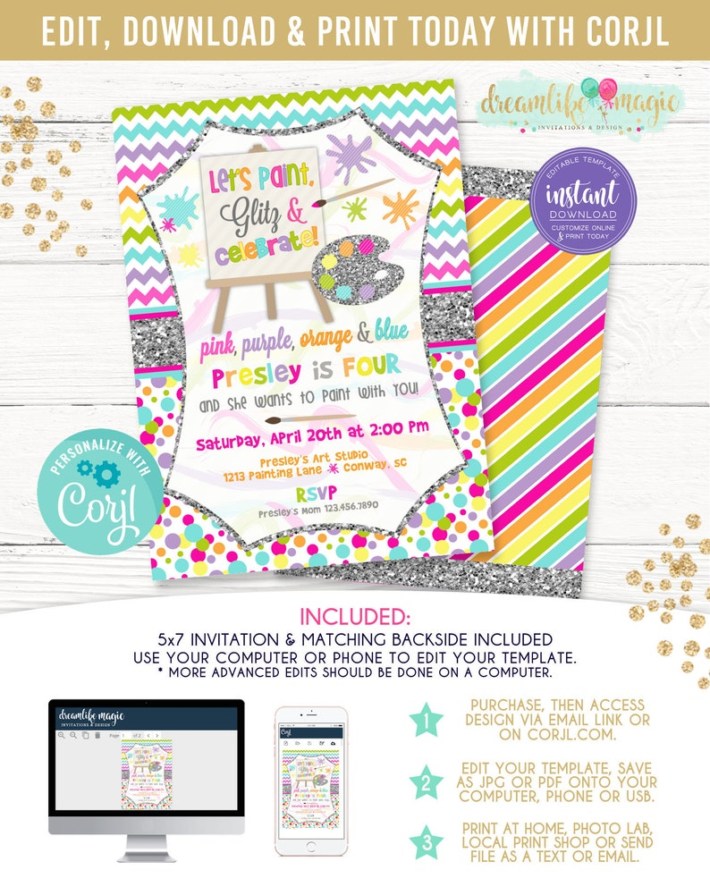 Art Party Birthday Invitation Dress for a Mess Painting image 0