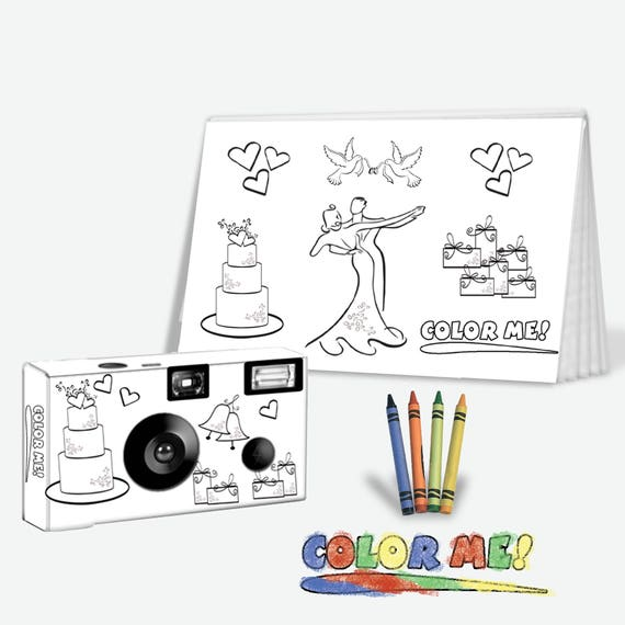 5 sets-Color-My-Cam-Wedding Disposable Camera & Photo Album Set for Kids,  w/Crayons--child wedding favor, kid wedding favor (PK512-5PK))