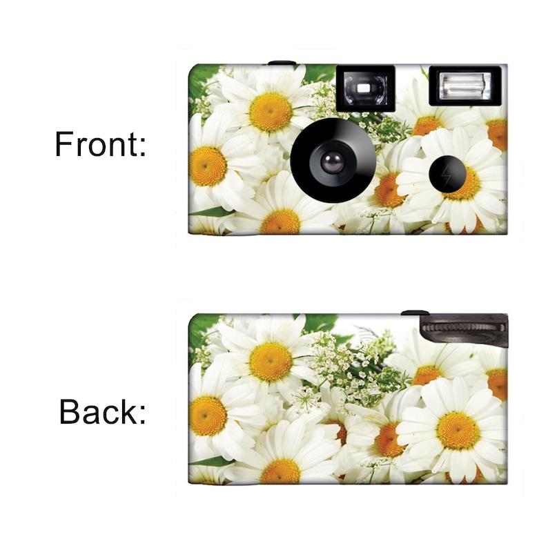 10 cameras-White Daisies Disposable Cameras- Fuji color film Party Cameras wflash-PERSONALIZE-wedding camera F50140