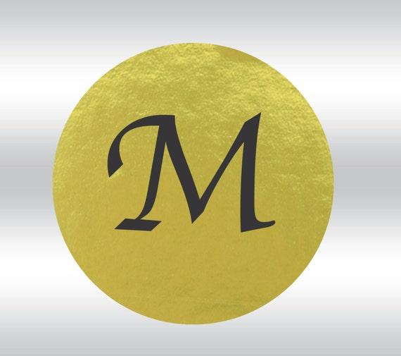 96 Gold Foil Single Letter Monogram 2-inch labels -- 96
