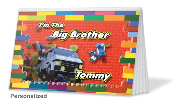 Lego Blocks Big Sister Brag Book Christmas Gift Birthday Hanukkah Brother 12 Free Text Options