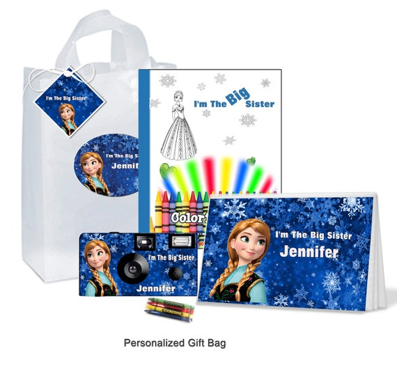 Im The Big Sister Gift Bag Frozen Anna PERSONALIZE Brother Birthday Christmas