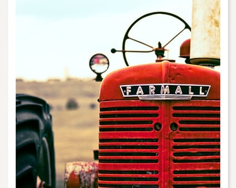 Farmall - Red Tractor Photo - Farm Photography - Red Tractor Wall Art  - Tractor Print - Kids Wall Art - Color Photograph - Farmhouse Decor