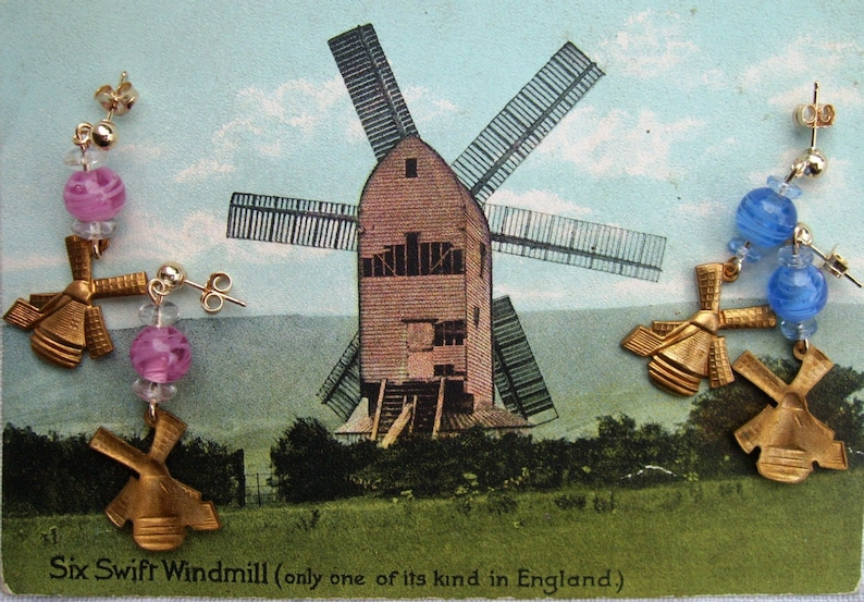 Vintage 1960s Dutch windmill EARRINGS cute Japanese pink blue or yellow or  green glass + USA brass charm dangles Molinologist Gifts