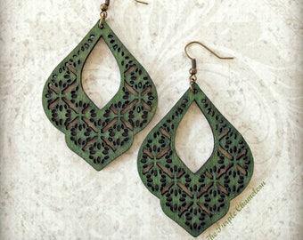 Green Filigree Drop Wood Earrings Gypsy Boho African Tichel Accessory Earrings Large Wooden Lightweight Earrings Eco Jewelry