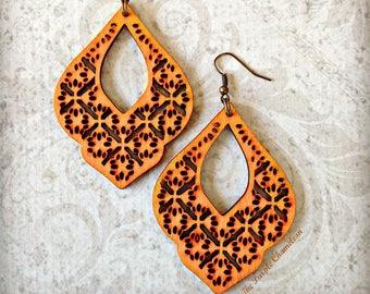 Orange Filigree Drop Wood Earrings Gypsy Boho African Tichel Accessory Earrings Large Wooden Lightweight Earrings Eco Jewelry