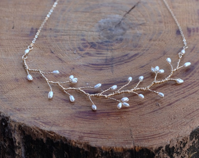 Pearl Blossom Spray Necklace