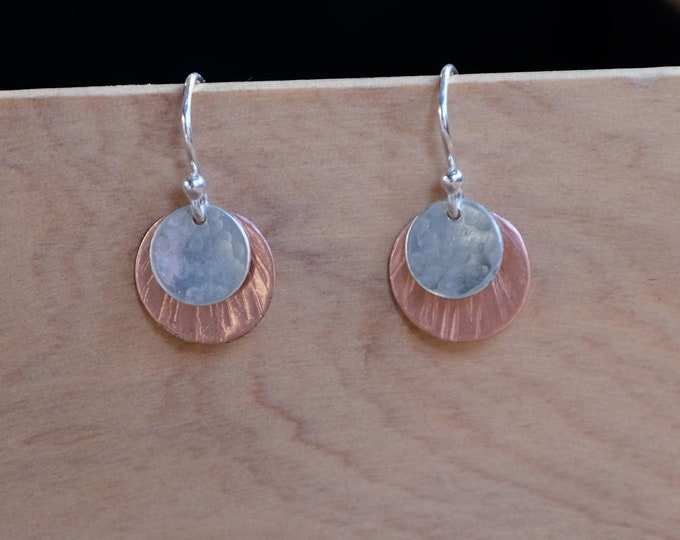 Sterling and Copper Disc Earrings
