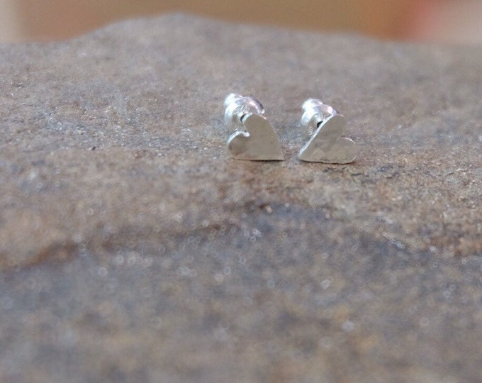 Hammered Sterling Heart Studs/ Valentine earrings