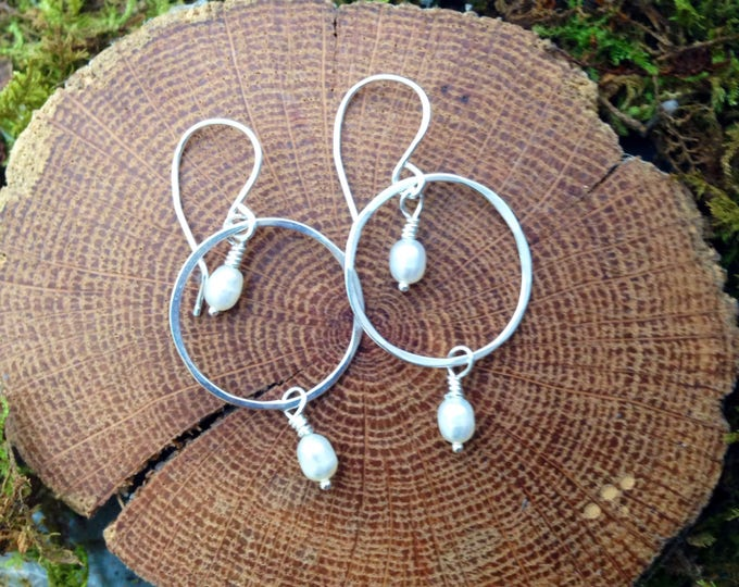 Sterling Silver and Pearl Circle Earrings
