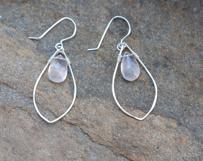 Sterling and Rose Quartz Drop Earrings.